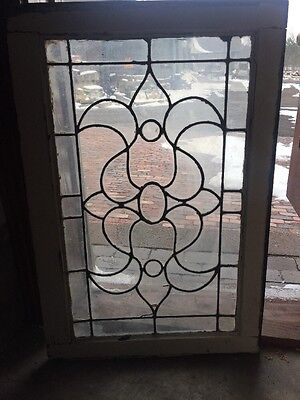 Sg 1243 Antique Leaded Glass Swirly Design Window 20 3H By 34.7 5W
