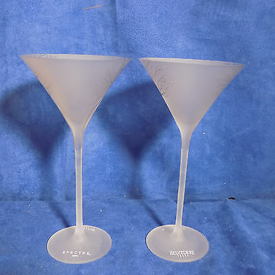 "Set Of 2 Belvedere 007 Spectre 9"" Tall Frosted Vodka Martini Glass - Euc"
