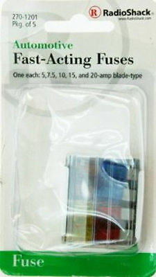 5 pack of assorted blade type ATC fuses for auto, new in package