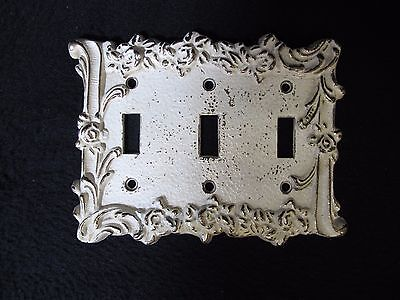 Vintage Cream Gold Brass TRIPLE Light Switch Plate Cover FRENCH PROVINCIAL Metal