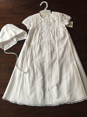 Baby Dove Christening Gown White Lace Boy Girl Neutral 6M Matching Bonnet *NEW*