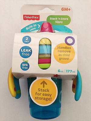 Stack 'n Store Sippy by Fisher-Price 2 pack children's training cups. UK Seller