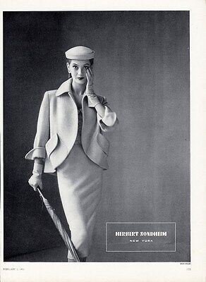 HERBERT SONDHEIM Fashion Ad Page 1951 - Sophisticated White Suit