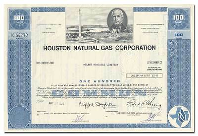 Houston Natural Gas Corporation Stock Certificate (Became Enron)