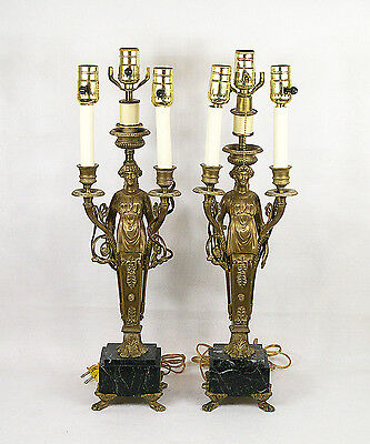 Antique Empire Napoleon III Figural Gilt Bronze Pair of  3 Light Lamp
