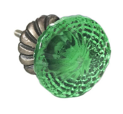 Green Glass with Back Plate Dresser Knob, Cabinet Pull or Drawer Knob