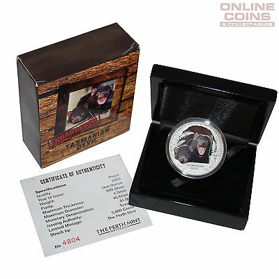 2013 Perth Tuvalu ENDANGERED - Tasmanian Devil Silver Proof $1 Coin - 1 Ounce