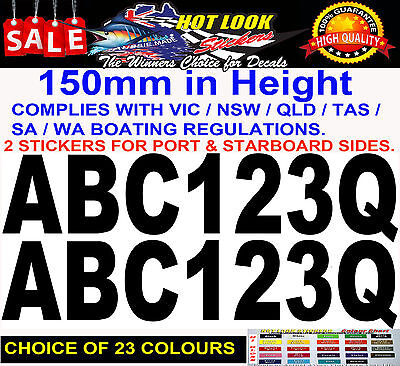 Boat Registration Decal Set 150mm High Vinyl Rego stickers numbers & letters