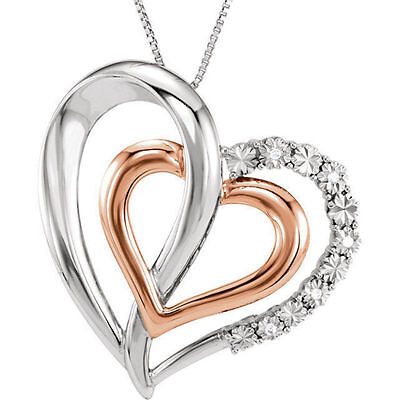 "Diamond Heart 18"" Necklace In 14K Rose Gold/Sterling Silver"