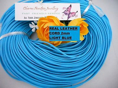 JEWELLERY WHOLESALE BULK FINDING MAKING SUPPLY LEATHER CORD 2mm ROUND LIGHT BLUE
