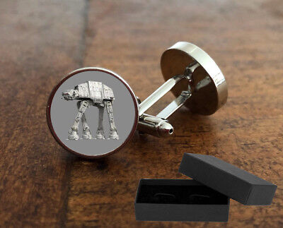 At - At Star Wars - Cufflinks - 3D Glass Lens Front - Mens Novelty Gift