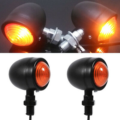 Pair of Black Metal Motorcycle Cafe Racer Turn Signal Indicator Lights Lamps