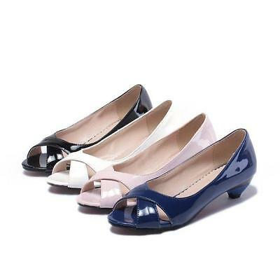 Womens Peep Toe Hollow Kitten Low Heel Slip On Patent Leather Shoes OL sandal Sz