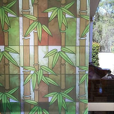 92cm x 3m Green Bamboo Privacy Frosted Frosting Removable Window Glass Film