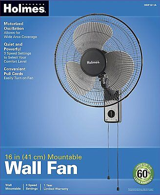 16-Inch Wall Mount Fan Oscillation Wide Area Pull Cord Control House Cooling NEW
