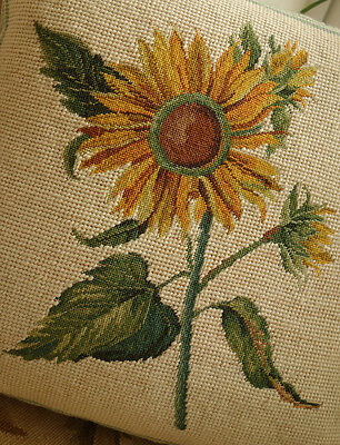 "14"" Whole Petit Point Sunflower Excellent Workmanship Needlepoint Pillow"