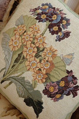 "14"" Whole Petit Point Stitched Purple Yellow Bouquet Needlepoint Pillow"
