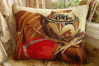 "16"" Unique Vintage Antique Still Life Pottery Tapestry Needlepoint Pillow"