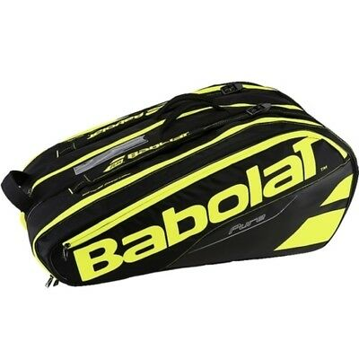 New Babolat Pure Black & Fluro Yellow 12 Rackets Racquets Capacity Tennis Bag