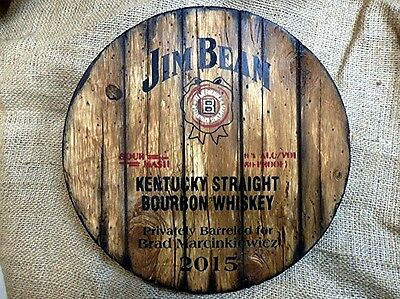 Personalized decorative Sign - whiskey barrel top | Hand painted Jim Beam artwor