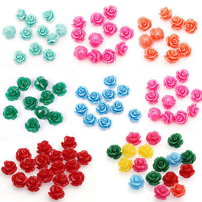 10/20pcs Rose Flower Carved  Resin Coral Loose Chram Spacer Beads10/12/15mm Lots