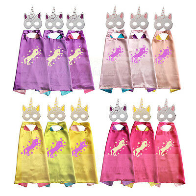 Unicorn Birthday Party Favors Capes with Masks Costume Unicorn Party Cosplay