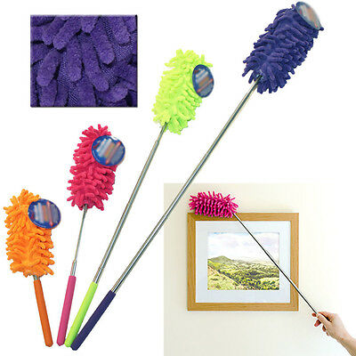 1Pcs Extendable Telescopic Cleaning Microfibre Feather Duster Home Brush Proper