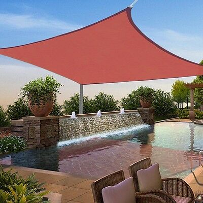 12x12 Ft Square Sun Shade Sail UV Top Cover Outdoor Canopy Patio Lawn Red
