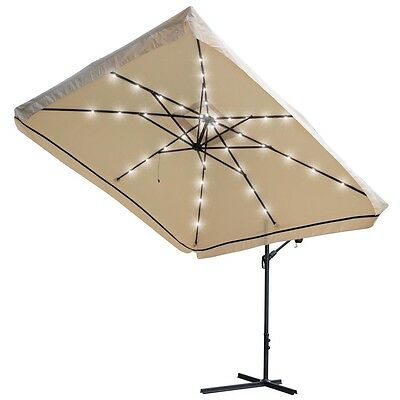 9Ft LED Patio Offset Umbrella Hanging Outdoor Cantilever Canopy