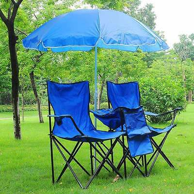 Folding Chair for 2-Person w/ Umbrella & Carring Bag Beach Camping Hiking Seat