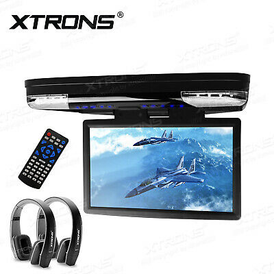 "15"" LCD Flip Down Overhead Roof Mount 1080P Car DVD Player Game SD+ 2 Headphone"