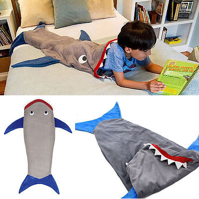 Kids Shark Mermaid Tail Fleece Blanket Snuggle-in Cosy Soft Sleeping Bag
