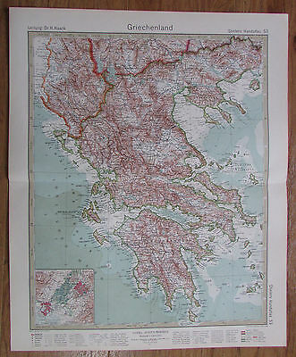 1926 GRIECHENLAND Greece Grèce Kupferstich alte Landkarte Karte Antique Map