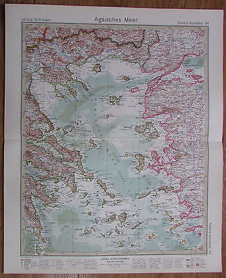 1926 ÄGÄISCHES MEER Aegean Sea Kupferstich alte Landkarte Karte Antique Map