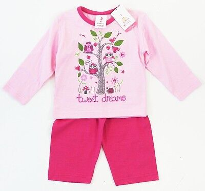Baby Girls Pink Dreams Pyjamas PJs Sleepwear Cosy Warm 100% Cotton 6-9-12 Months