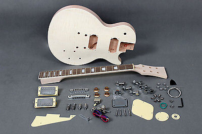 Kit DIY Guitarra Les Paul caoba - Unfinished electric guitar DIY Mahogany Flamed