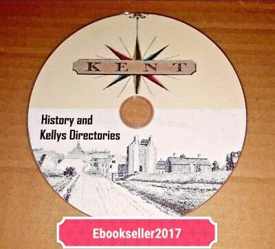 ebooks, History of Kent genealogy 70 + pdf files and Kellys, Directories on disc