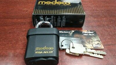 New Medeco M3 Padlock With 2 Keys And Duplication Card, Locksmith High Security