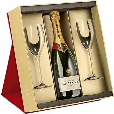 Bollinger Special Cuvee Champagne 75cl and two Elizabeth Flutes