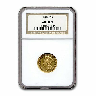 1879 Gold $3 Princess AU-58 NGC (PL) - SKU #118295