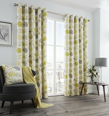 Karsten Lime Green Multi 100% Cotton Face Eyelet Ring Top Lined Floral Curtains