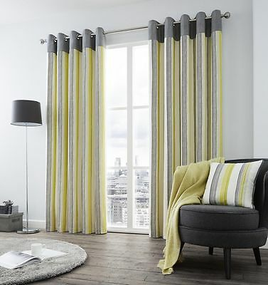 Rydell Stripe Grey & Lime Green Fully Lined Luxury Eyelet Ready Made Curtains