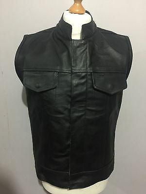 UK STOCK Real Leather Mens Son Of Anarchy Motorcycle Biker Cut Off Waistcoat.