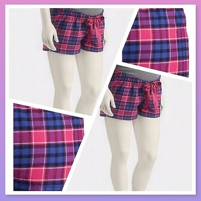 "XXL Maternity �� Patterned Flannel Lounge Shorts 2 1/2"" Navy&PinkPlaid OLD NAVY"