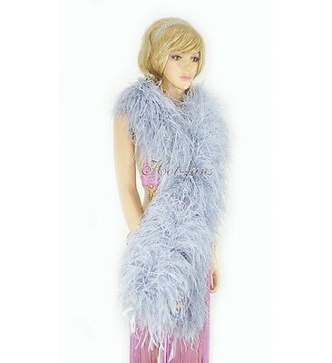 "Light Gray 12 plys luxury Ostrich Feather Boa 71""long (180 cm) Burlesque fancy"