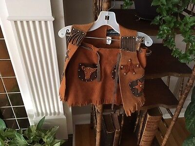 Vintage country western/cow girl Buckskin skirt/vest/stars/sheriff/Halloween