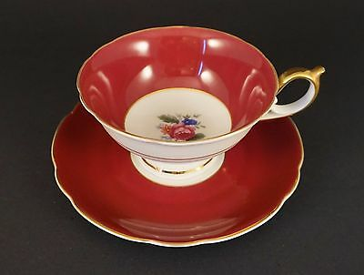 TEA CUP AND SAUCER Royal Bayreuth - Maroon with Gold Trim