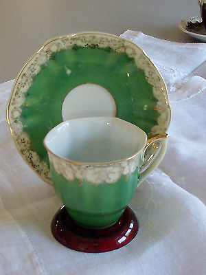 China Teacup and Saucer Set   Emerald Green  / Gold Flowers Japan Hand Painted