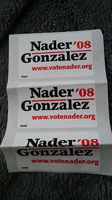 Ralph Nader for President 2008 Sticker 3x white NEW