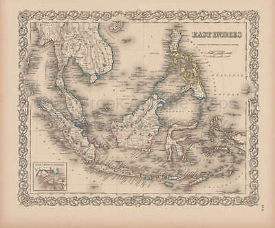 East Indies Vintage Map Original Malaysian Decor History Gift Ideas Colton 1856